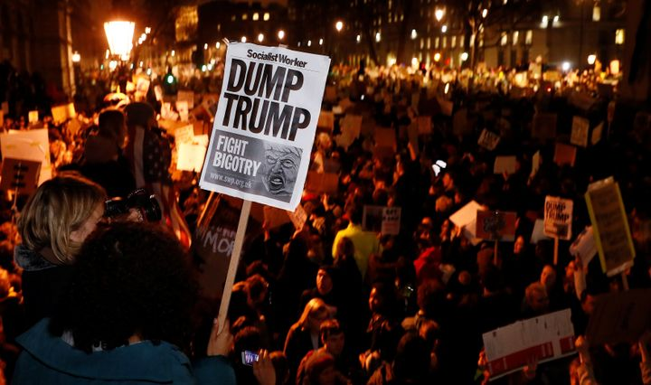 Protests of Trump's order have extended overseas, including this one in London. Other countries might benefit, however, if to