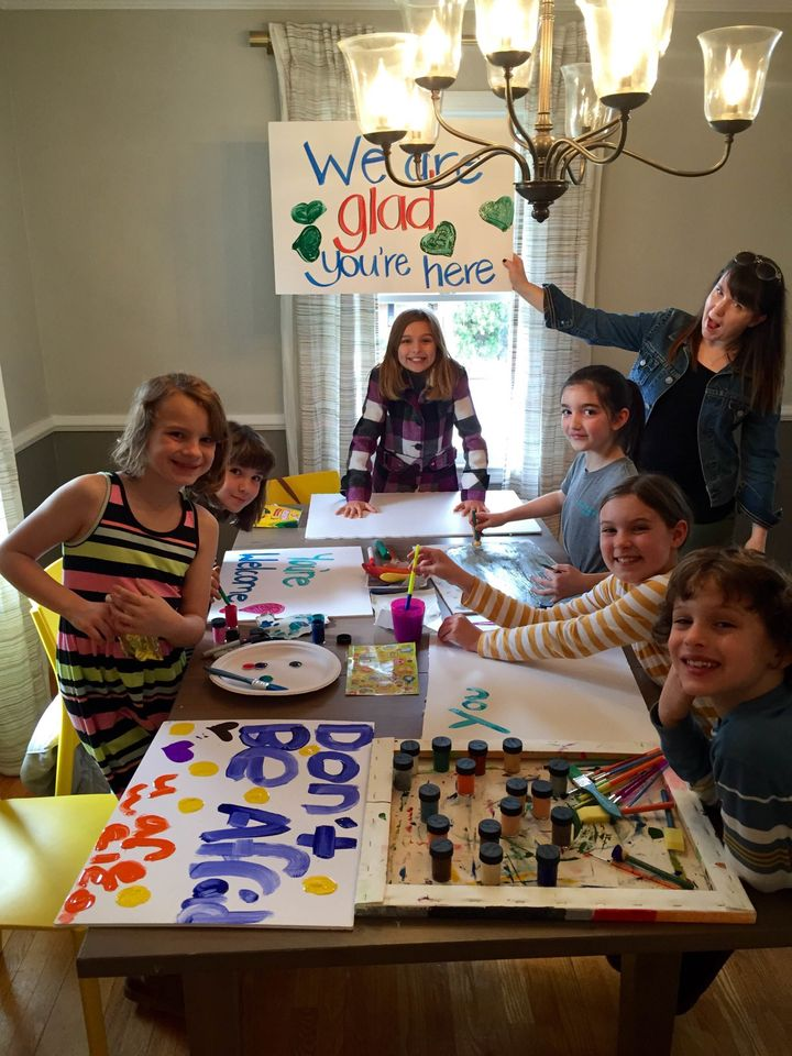 The Vincent family's sign-making party.