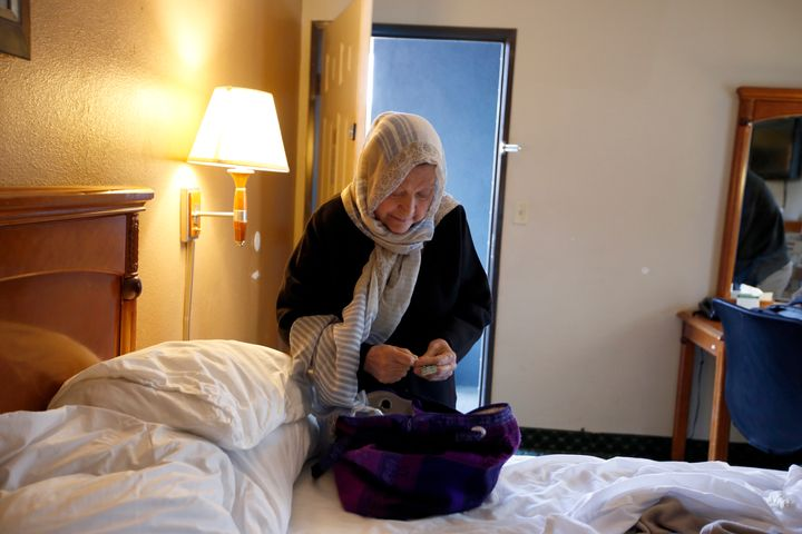 Iranian grandmother Marzieh Moosavizadeh in her hotel room in El Segundo after she was detained at LAX in California on