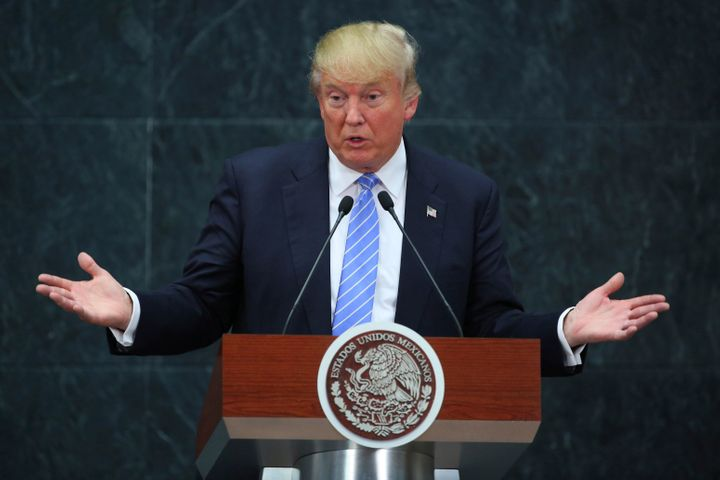 Then-presidential candidate Donald Trump speaks in Mexico City in Aug. 2016. Trump is considering using a 20-percent import tax to get Mexico to fund the border wall.