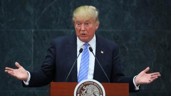 MEXICO CITY, MEXICO - AUGUST 31:  US Republican presidential candidate Donald Trump gives a speech after meeting President of Mexico Enrique Peña Nieto at Los Pinos on August 31, 2016 in Mexico City, Mexico. President of Mexico Enrique Pena Nieto invited both presidential candidates, Hillary Clinton and Donald Trump to talk about the bilateral relation between Mexico and the United States, being Trump the first one to accept the invitation. (Photo by Hector Vivas/LatinContent/Getty Images)