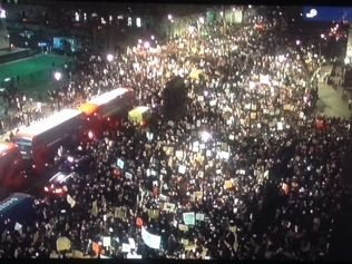 Police in London released this picture of the vast protest in the U.K. capital last night against the Trump visa ban.
