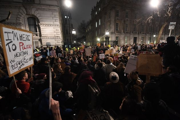 Angered protesters demonstrated against Trump's Executive Order across the