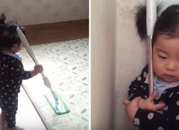 Toddler Has A Love Affair With A Mop And Won't Let Anyone Near It