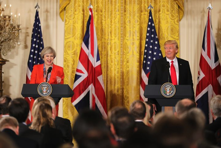 WASHINGTON, DC - JANUARY 27: British Prime Minister Theresa May speaks during a joint press conference with U.S. President Do