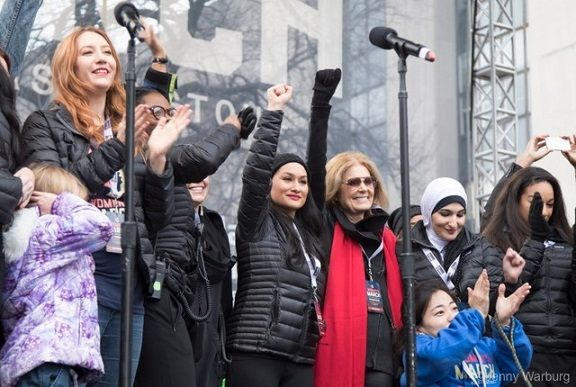<em>Leaders of the Women's March on Washington on stage. </em>
