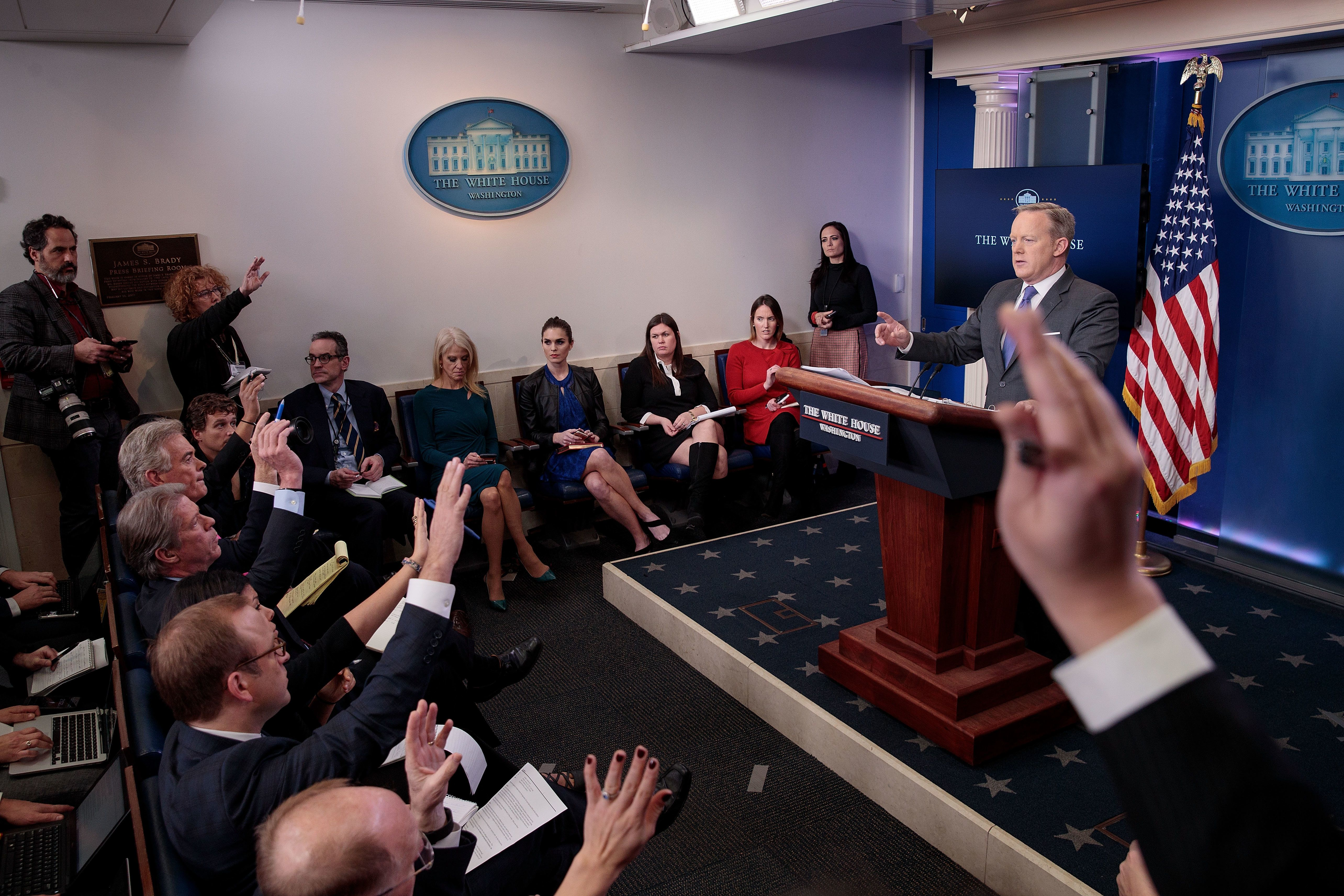 Press secretary Sean Spicer answers questions during his daily press briefing at the White House on Jan. 30.