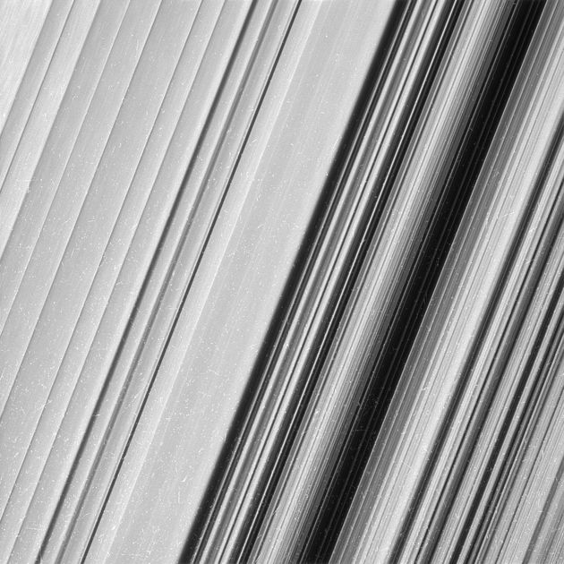 A region in Saturn's outer B ring. From this view, it is clear that there are still finer details to...
