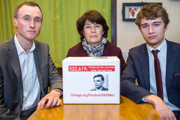 The family of WWII codebreaker Alan Turing deliver a Change.org petition to 10 Downing Street, signed...