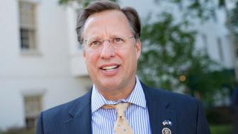 UNITED STATES - MAY 24: Rep. Dave Brat, R-Va., is interviewed outside of the RNC after a meeting of the House Republican Conference, May 24, 2016. (Photo By Tom Williams/CQ Roll Call)