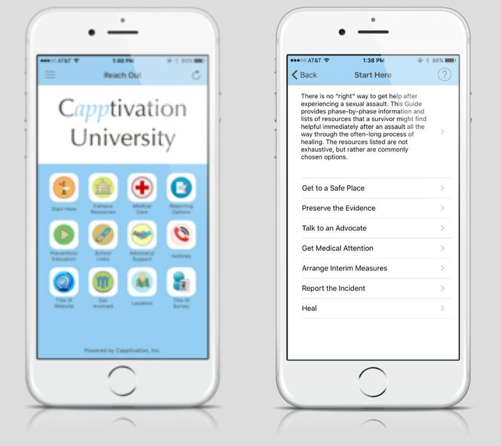 "An example of what the home screen looks like when you enter the app. ""Capptivation University"" is a stand in for the users r"