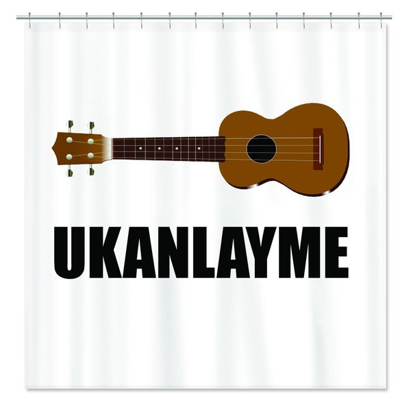 "If your Valentine needs a hint about your interest, this<a href=""http://www.cafepress.com/+ukanlayme_ukulele_shower_curtain,6"