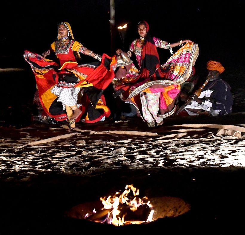 <em>Dancers, musicians at the Royal Jodhpur Camp</em>