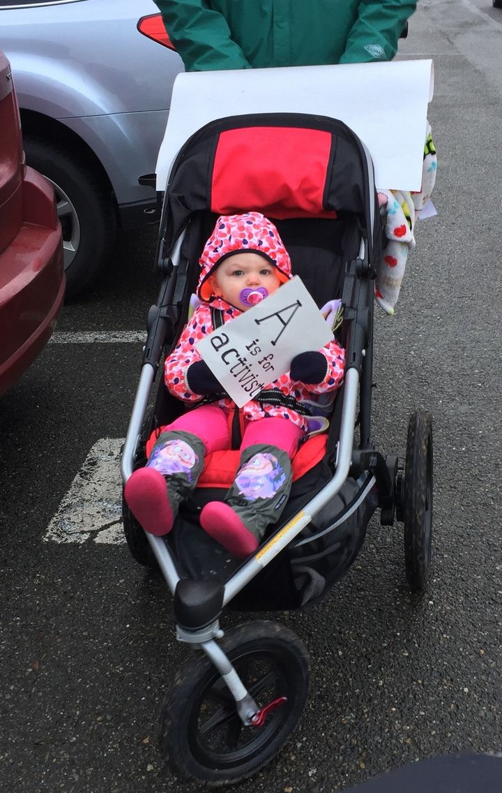 The child of one of Barbara Zimmerman's friends, Jessica Foster, who marched with her in the Women's March in Olympia, Washington.