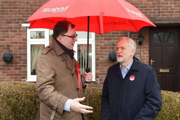 Labour's candidate Gareth Snell with party leader Jeremy Corbyn during a campaign