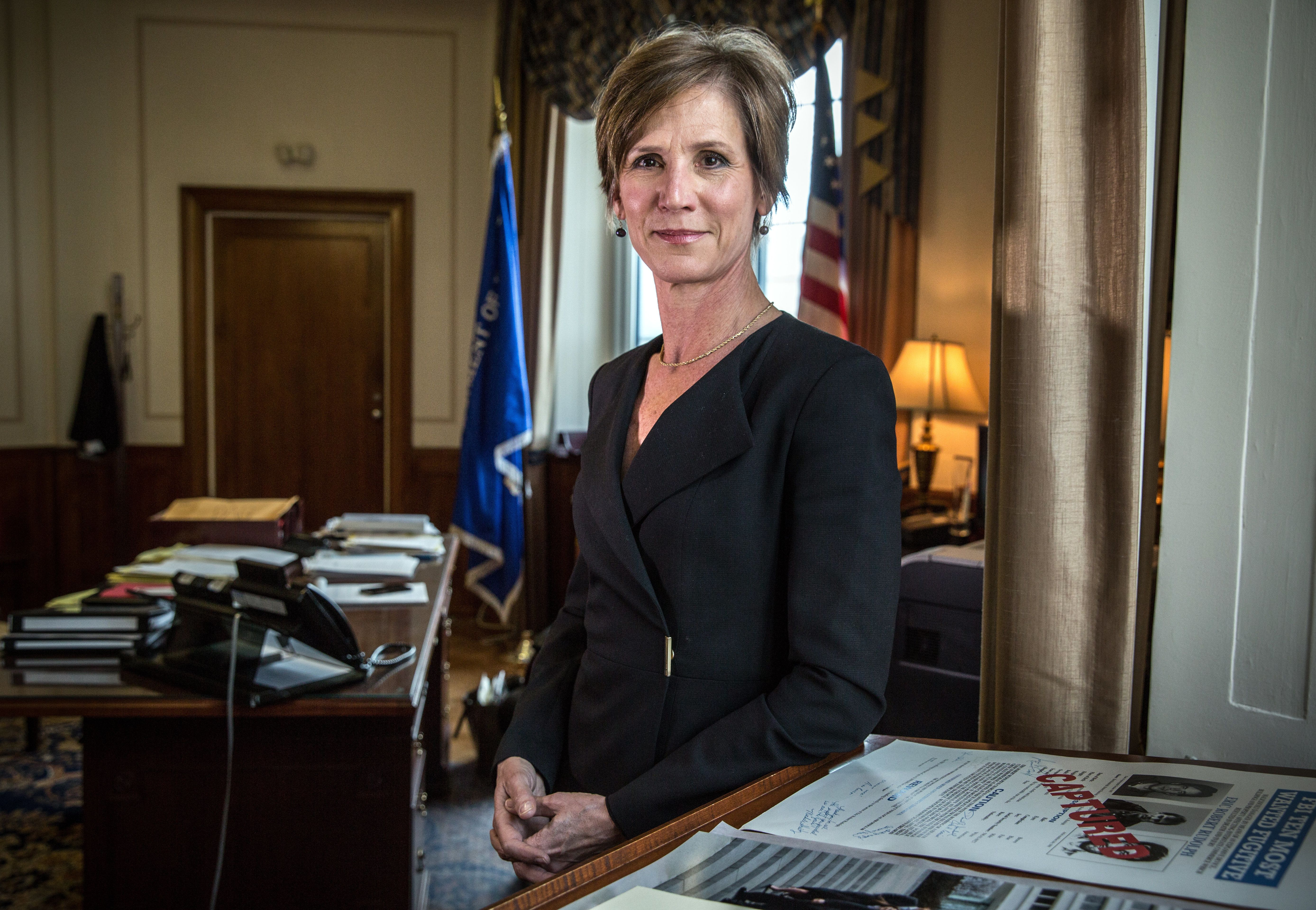 WASHINGTON, DC - MAY15: Deputy Attorney General Sally Yates, in her office at the Justice Department, May 15, 2015, in Washington, DC.  Yates, who was confirmed by the Senate yesterday, is a former career prosecutor from Atlanta. (Photo by Evelyn Hockstein/For The Washington Post via Getty Images)
