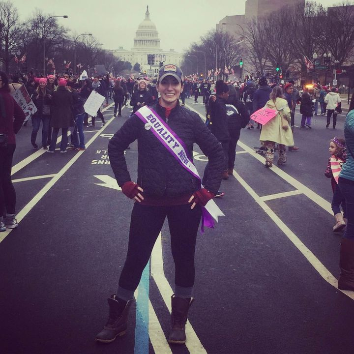Carmen Warner marches proudly in Washington.