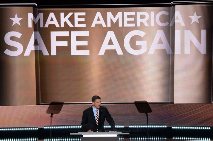 Flynn addresses delegates on the first day of the Republican National Convention on July 18, 2016 at Quicken Loans Arena in C