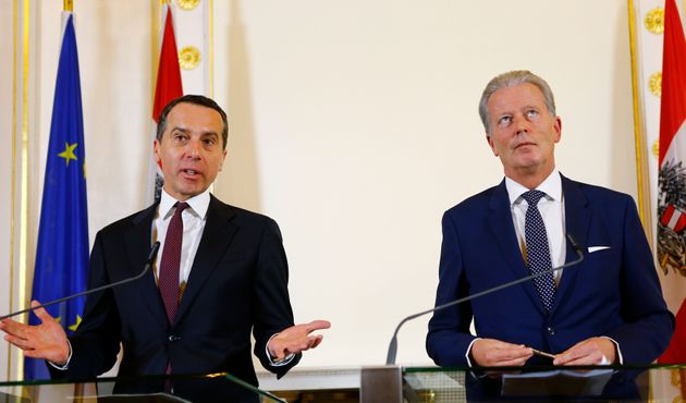 Austrian Chancellor Christian Kern and Vice Chancellor Reinhold Mitterlehner at a news conference...