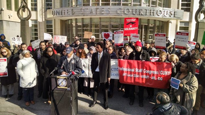 At the rally on Monday in front of the U.S. Courthouse for the Eastern District of New York, Brooklyn Borough President Eric