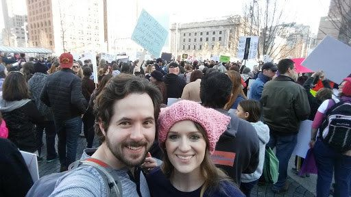 Kate Lantz and her husband at the Women's March in Cleveland.