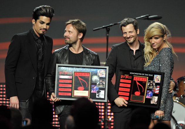 Adam Lambert, Max Martin, Gottwald, and Kesha at the 28th Annual ASCAP Pop Music Awards at the Grand...