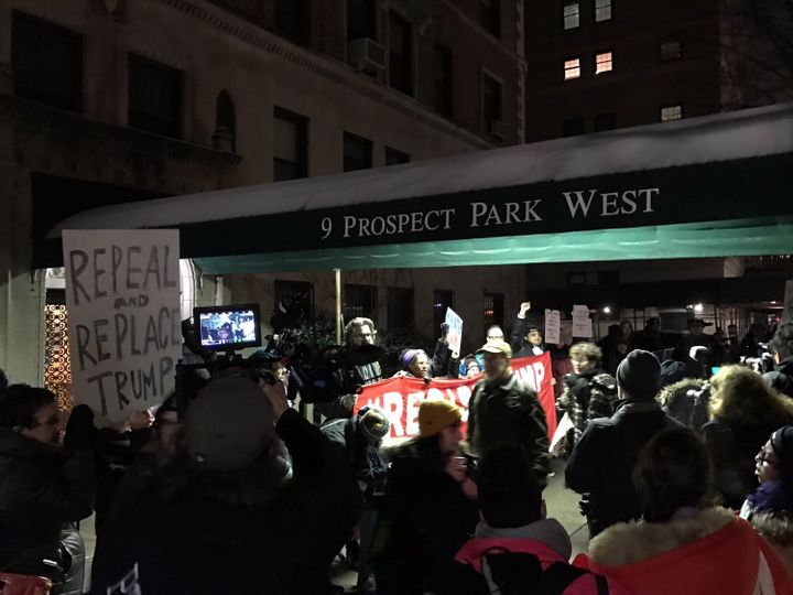 Hundreds marched in Brooklyn from Grand Army Plaza to Sen. Chuck Schumer's house in Park Slope.