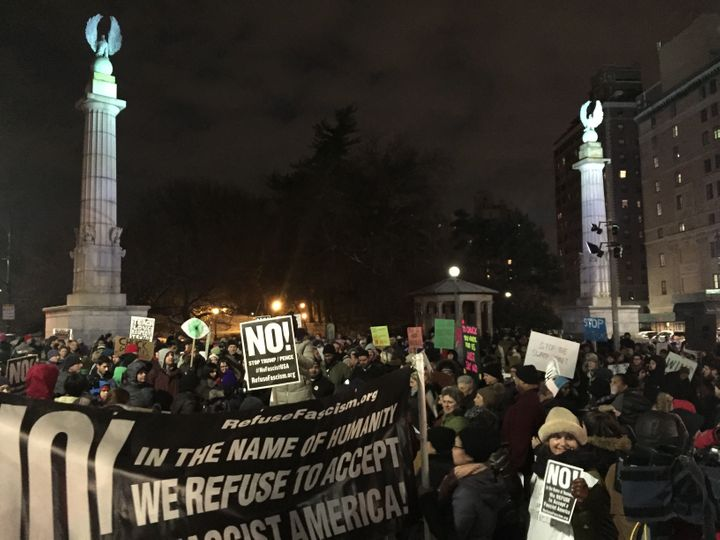 The protest began around 6 p.m. in Grand Army Plaza on the edge of Prospect Park in Brooklyn.