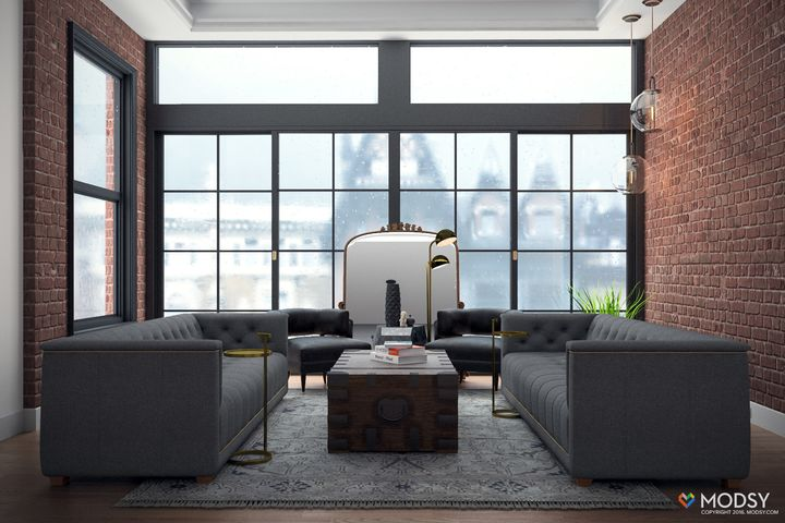 Two long sofas allow guests to face each other as they chat over drinks.
