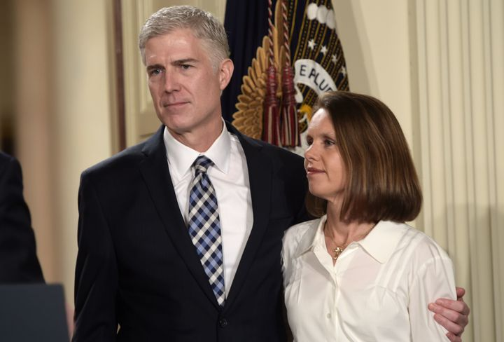 Supreme Court nominee Neil Gorsuch and his wife, Marie Louise, at the White House announcement.