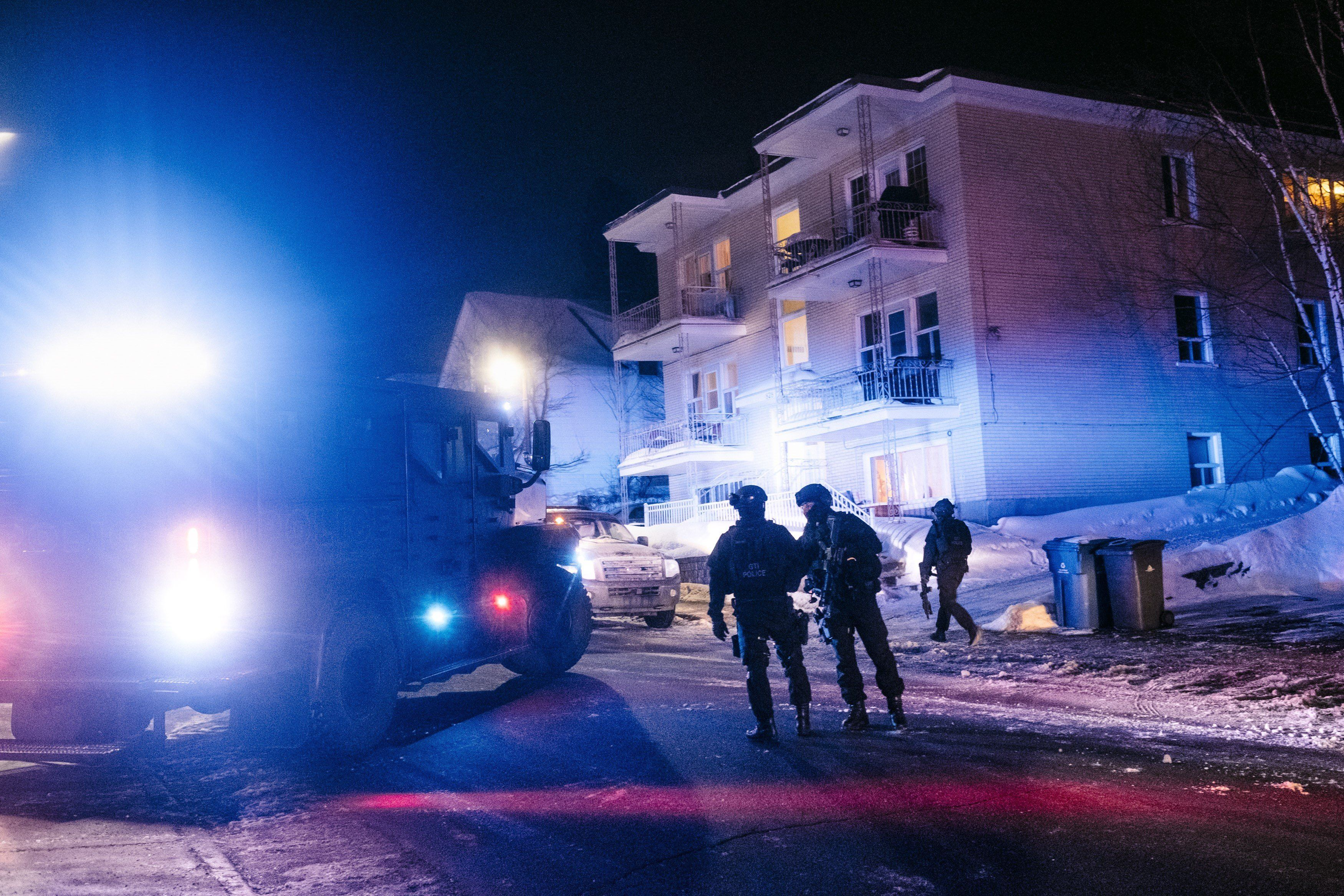 QUEBEC,CANADA - JANUARY 29: Canadian security forces patrol after a shooting in the Islamic Cultural Centre of Quebec in Quebec city on January 29, 2017. Five people are dead and a number of others wounded in a shooting at a mosque in Quebec City, the facility's president told media late Sunday. (Photo by Renaud Philippe/Anadolu Agency/Getty Images)