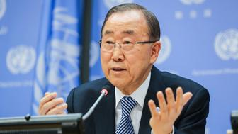 NEW YORK, NY - DECEMBER 16: Secretary-General of the United Nations, Ban Ki-Moon speaks to the audience during a closing press conference at the UN headquarters on December 16, 2016 in New York, New York. Ban Ki-Moon took office on 1 January 2007. His first term expired on 31 December 2011 and was re-elected, unopposed, to a second term on 21 June 2011. António Guterres was appointed by the General Assembly on 13 October 2016 to be his successor. (Photo by William Volcov/BrazilPhotoPress/LatinContent/Getty Images)