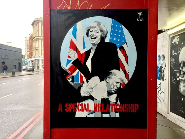 Pegasus painted this piece, which shows British Prime Minister Theresa May spanking Trump, in Shoreditch, London, in January
