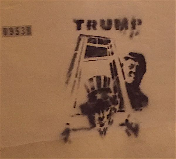 Christine H saw this piece showing Trump behind Uncle Sam in a guillotine on an underpass in San Jose, California, soon after