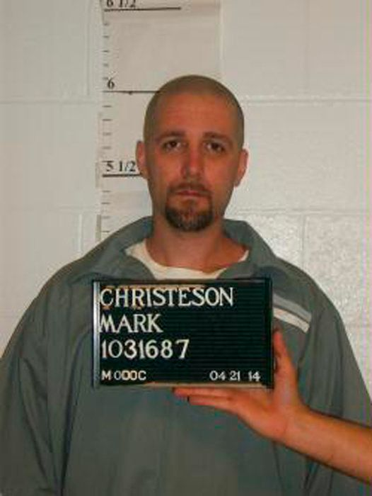 Mark Christeson is pictured in this April, 21, 2014 handout photo. Christeson, 35, is scheduled to die by lethal injection early October 29, 2014. He was convicted of killing a woman and her two children 16 years ago.  REUTERS/Missouri Department of Corrections/Handout via Reuters  (UNITED STATES - Tags: CRIME LAW) THIS IMAGE HAS BEEN SUPPLIED BY A THIRD PARTY. IT IS DISTRIBUTED, EXACTLY AS RECEIVED BY REUTERS, AS A SERVICE TO CLIENTS. FOR EDITORIAL USE ONLY. NOT FOR SALE FOR MARKETING OR ADVERTISING CAMPAIGNS