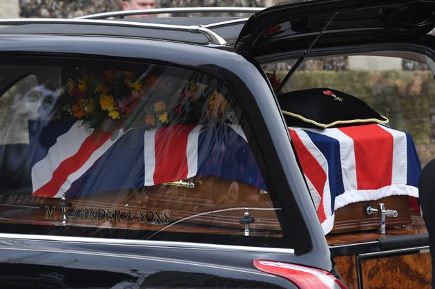 Taylor's coffin draped in a Union Jack