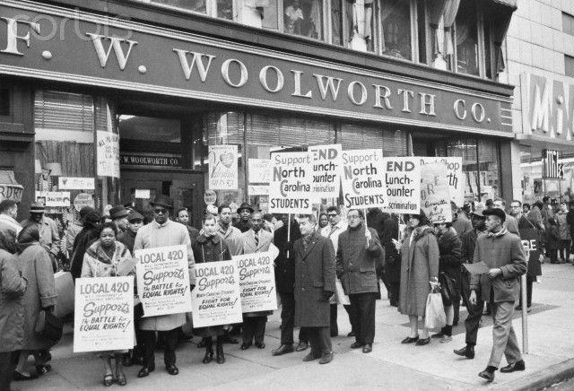 Demonstrators picket outside Woolworths in New York City to support Southern sit-in movement