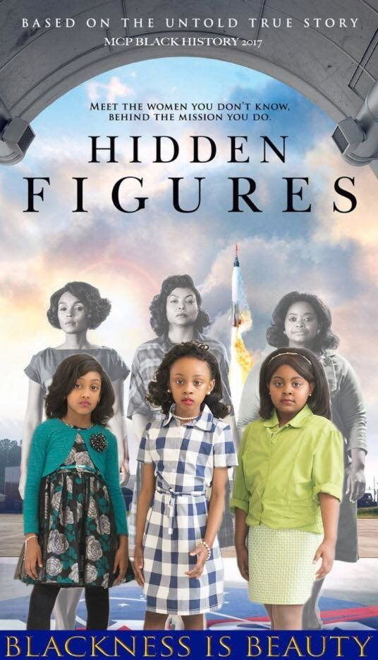 """Ambrielle-Baker Rogers, Morgan Coleman and Miah Bell-Olson dressed as Dorothy Vaughan, Katherine Johnson and Mary Jackson, the trio of black women featured in the movie """"Hidden Figures"""" who helped NASA send astronaut John Glenn into orbit."""