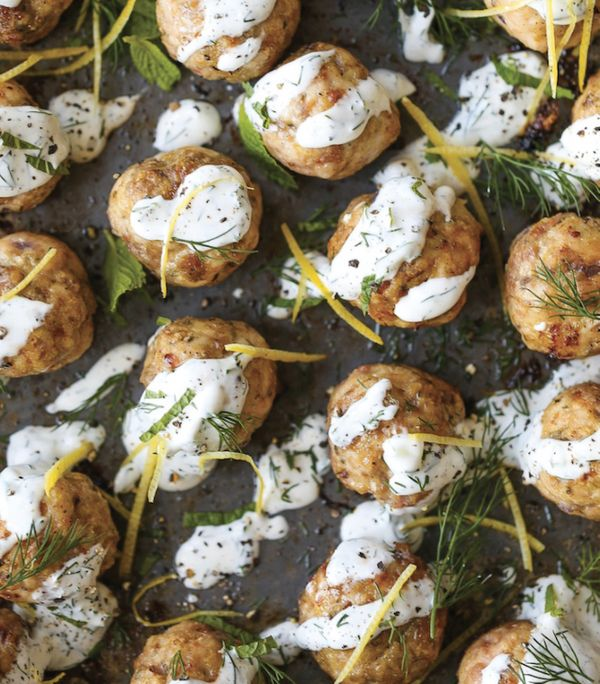 "<strong>Get the <a href=""http://damndelicious.net/2016/10/13/greek-turkey-meatballs/"" target=""_blank"">Greek Turkey Meatballs"