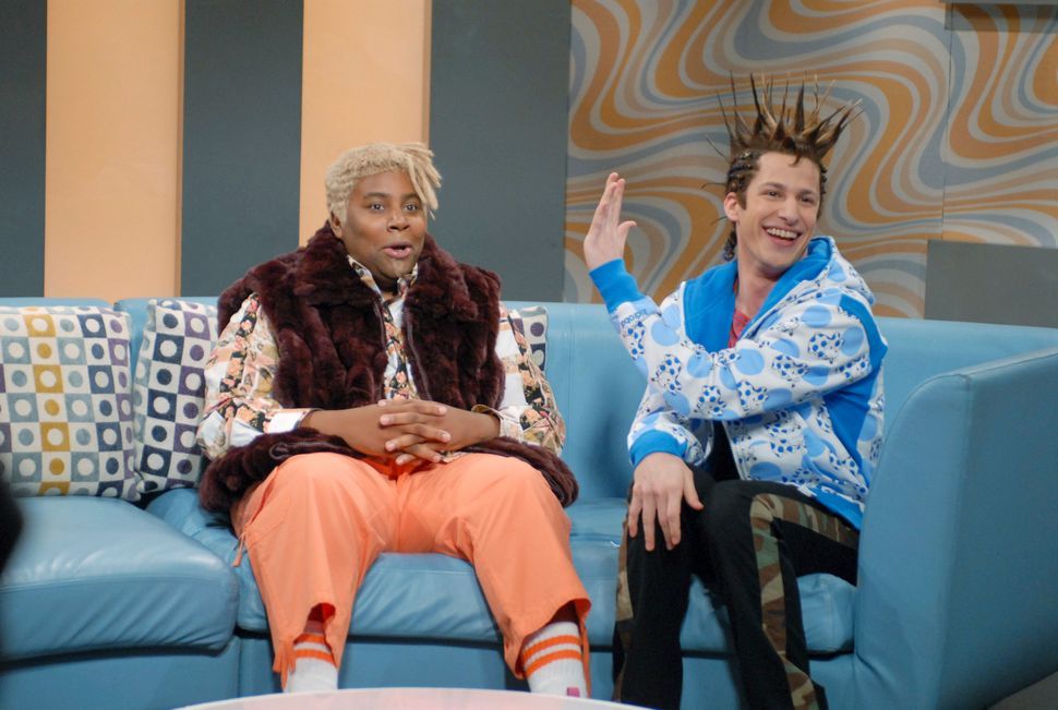 "Kenan Thompson plays DJ Dynasty Handbag and Andy Samberg as T'Shane in ""Deep House Dish,"" a skit in 2007."