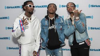 NEW YORK, NY - JANUARY 26:  (L-R) Migos Rappers Offset, Takeoff and Quavo visit SiriusXM Studios on January 26, 2017 in New York City.  (Photo by Mark Sagliocco/Getty Images)