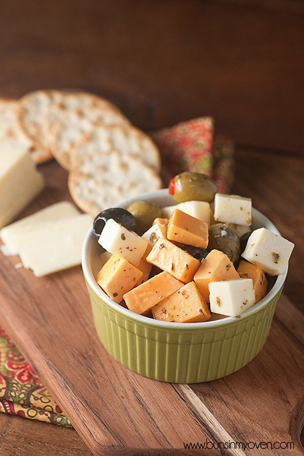 """<strong>Get the <a href=""""http://www.bunsinmyoven.com/2014/05/06/marinated-cheese-and-olives/"""" target=""""_blank"""">Marinated Chees"""