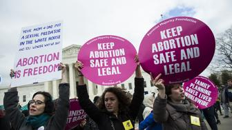WASHINGTON, USA - JANUARY 27: Pro-Choice supporters try to block Pro-Life demonstrators in front of the Supreme Court during the annual March for Life on the anniversary of the historic Roe v. Wade Supreme Court ruling in Washington, USA on January 27, 2017.   (Photo by Samuel Corum/Anadolu Agency/Getty Images)