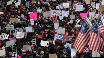 People participate in a Women's March to protest against U.S. President Donald Trump in New York City, U.S. January 21, 2017. REUTERS/Stephanie Keith