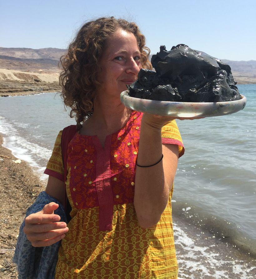 collecting Dead Sea mud, Jordan