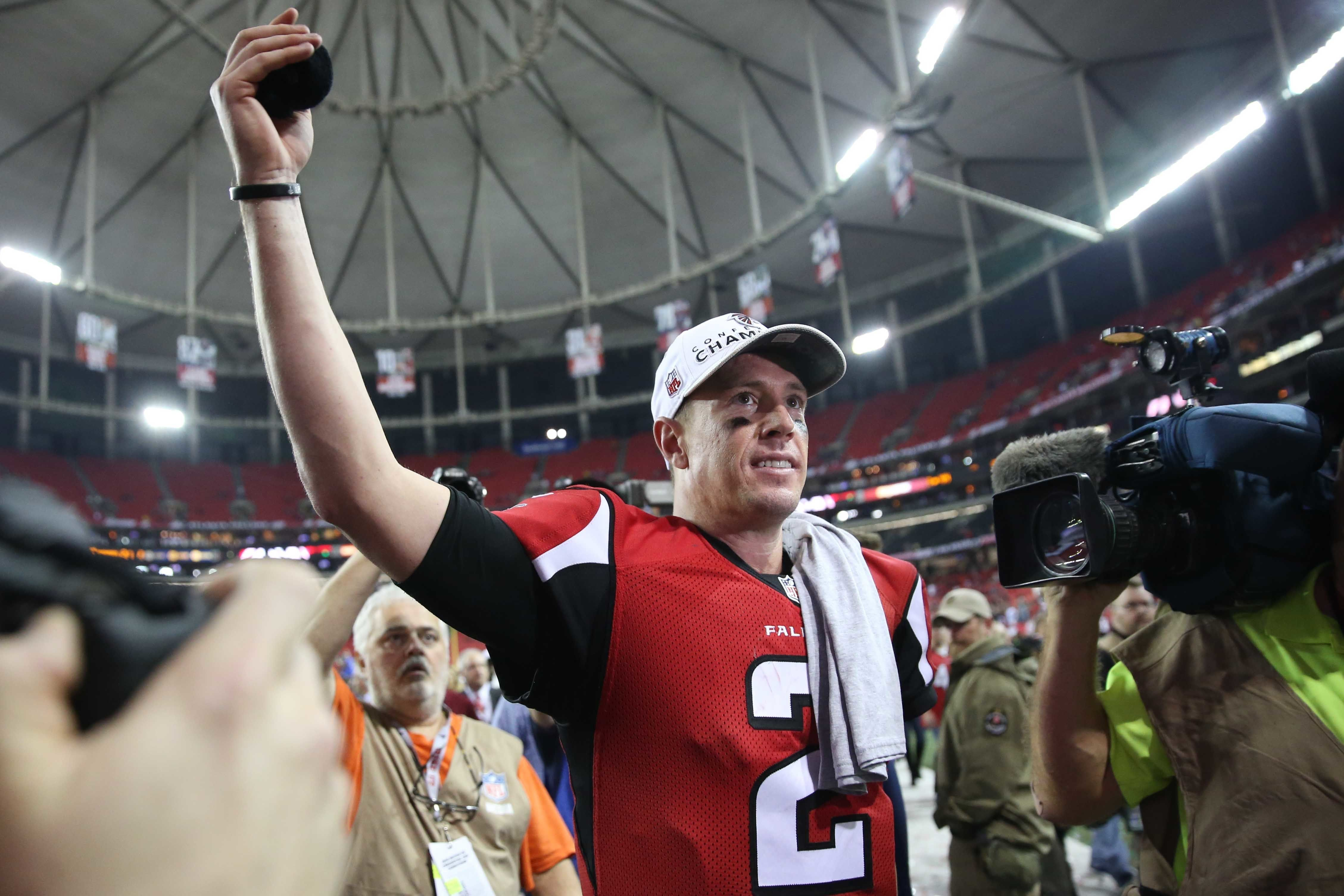 Jan 22, 2017; Atlanta, GA, USA; Atlanta Falcons quarterback Matt Ryan (2) walks off the field after the game against the Green Bay Packers in the 2017 NFC Championship Game at the Georgia Dome. Atlanta defeated Green Bay 44-21.  Mandatory Credit: Jason Getz-USA TODAY Sports