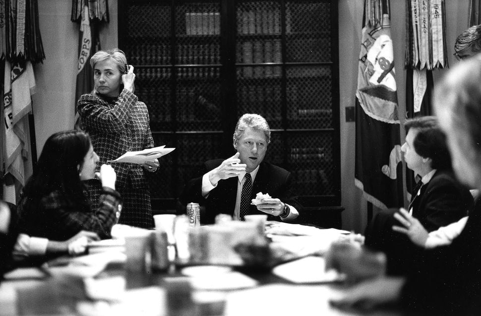 President Clinton and Hillary Clinton in a meeting about healthcare reform in the White House's Roosevelt Room. February