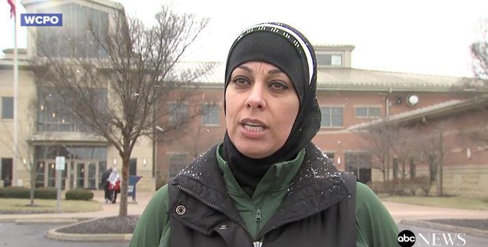 Rawd Saleh speaks at a rally in front of the Mason Community Center.