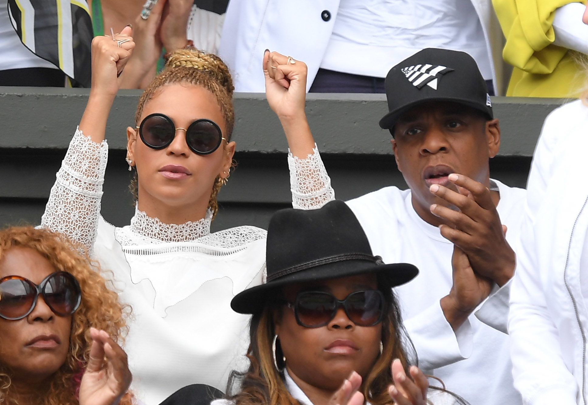 LONDON, ENGLAND - JULY 09:  Beyonce and Jay Z attend the women's final of the Wimbledon Tennis Championships between Serena Williams and Angelique Kerber at Wimbledon on July 09, 2016 in London, England.  (Photo by Karwai Tang/WireImage)