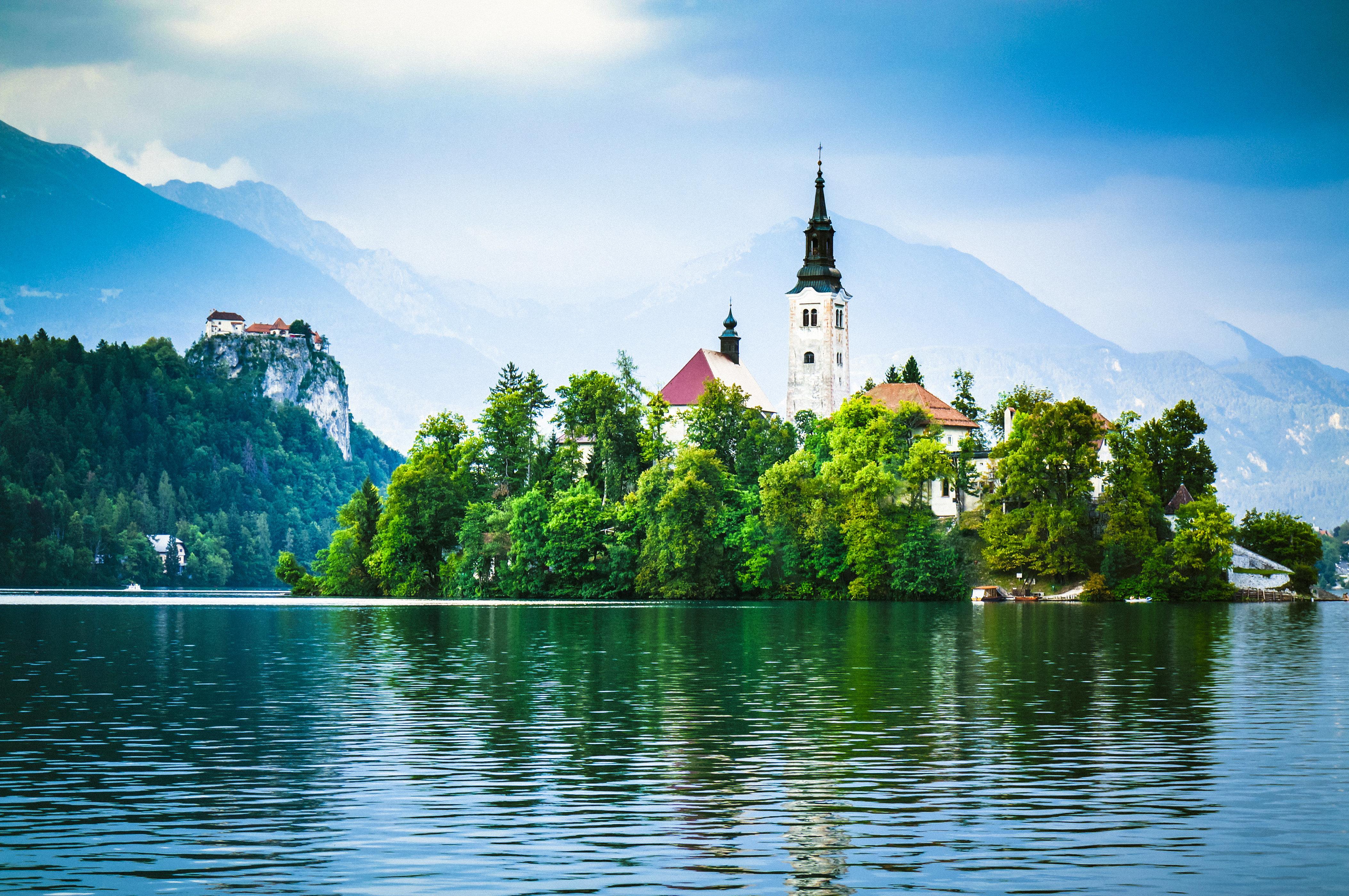 Santa Maria Church on the island on the Lake Bled (Blejsko jezero), lake in the Julian Alps in northwestern Slovenia is a very popular tourist destination.